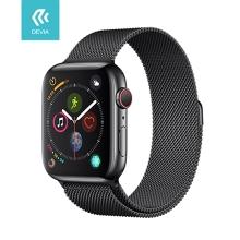 Řemínek DEVIA pro Apple Watch 44mm Series 4 / 5 / 42mm 1 2 3 - nerezový - černý