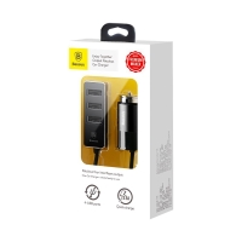 Autonabíječka BASEUS 1x + 3x USB-A (5,5A) - plast / kov - černá