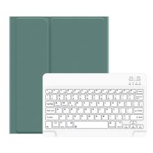 """Klávesnice USAMS Bluetooth odnímatelná + kryt / pouzdro pro Apple iPad 10,2"""" - tmavě zelená / bílá"""