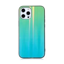 Kryt pro Apple iPhone 12 Pro Max - barevný přechod a lesklý efekt - gumový / skleněný - mátově zelený