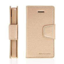 Vyklápěcí pouzdro Mercury Sonata Diary pro Apple iPhone 4 / 4S se stojánkem a prostorem na osobní doklady - zlaté