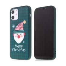 Kryt pro Apple iPhone 12 / 12 Pro - vánoční - gumový - zelený / Santa Claus