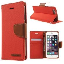 Vyklápěcí pouzdro Mercury Canvas Diary pro Apple iPhone 6 / 6S se stojánkem a prostorem na osobní doklady - oranžovo-hnědé