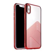 Kryt SULADA pro Apple iPhone Xs Max - lesklé vlnky - gumový - průhledný / červený