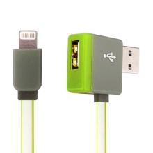 Synchronizační a nabíjecí kabel Lightning - pravoúhlý USB konektor + připojovací USB port - zelený - 1m
