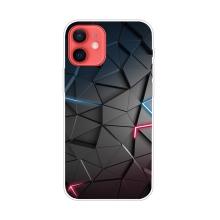 Kryt pro iPhone 12 / 12 Pro - gumový - geometrická textura - šedá