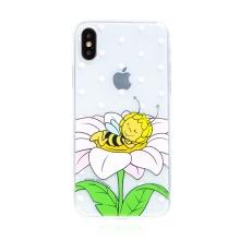 Kryt včelka Mája - pro Apple iPhone - X / Xs - gumový - průhledný - zasněná Mája
