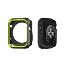 Kryt / rámeček pro Apple Watch 38mm 1 / 2 / 3 series - sportovní - silikonový - černý / zelený