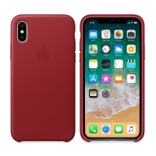Originální kryt pro Apple iPhone X - kožený - červený