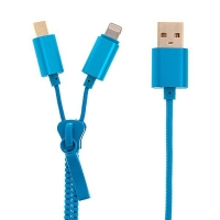 2v1 Synchronizační a nabíjecí kabel Lightning a micro USB pro Apple iPhone / iPad / iPod a další zařízení - zip - modrý - 90cm