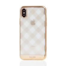 Kryt SULADA pro Apple iPhone X / Xs - gumový - průhledný / zlatá mřížka