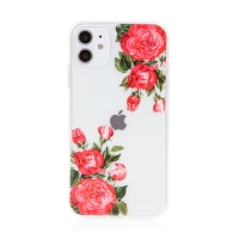 Kryt BABACO pro Apple iPhone 11 - gumový - průhledný - růže