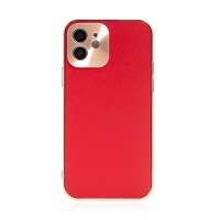 Kryt pro Apple iPhone 12 - kožený + pokovený povrch - červený / měděný