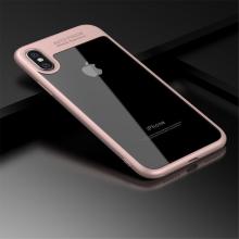 Kryt IPAKY pro Apple iPhone X - plastový / gumový - průhledný / růžový