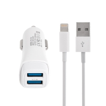2v1 nabíjecí sada pro Apple zařízení - autonabíječka - 2x USB (2.4A) + kabel Lightning - bílá