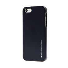 Gumový kryt Mercury pro Apple iPhone 5 / 5S / SE - jemně třpytivý - černý