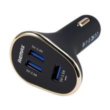 Nabíječka do auta REMAX s 3 USB porty (6.3A) - černá