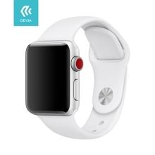 Řemínek DEVIA pro Apple Watch 44mm Series 4 / 5 / 42mm 1 2 3 - silikonový - bílý