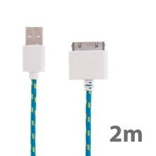 Synchronizační a nabíjecí kabel s 30pin konektorem pro Apple iPhone / iPad / iPod - tkanička - modrý - 2m