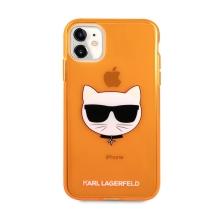 Kryt KARL LAGERFELD Choupette pro Apple iPhone 11 - gumový - oranžový - třpytky