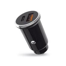 Autonabíječka XO - 2,4A - USB + USB-C 18W - černá / stříbná