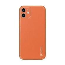 Kryt DUX DUCIS YOLO pro Apple iPhone 12 - měděné linky - umělá kůže - oranžový