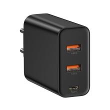 EU napájecí adaptér / nabíječka BASEUS Speed pro Apple iPhone / MacBook - 2x USB + USB-C - černý