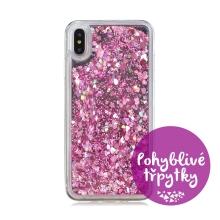 Kryt pro Apple iPhone Xs Max - plastový / gumový - zrcadlový - pohyblivé třpytky - růžový