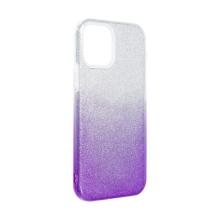 Kryt FORCELL Shining pro Apple iPhone 12 Pro Max - plastový / gumový - stříbrný / fialový