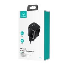 20W EU napájecí adaptér / nabíječka USAMS - mini provedení - USB-C pro Apple iPhone / iPad - černý