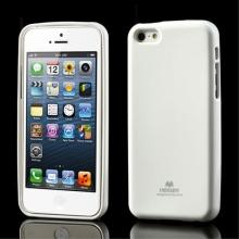 Gumový kryt Mercury pro Apple iPhone 5C - jemně třpytivý - bílý
