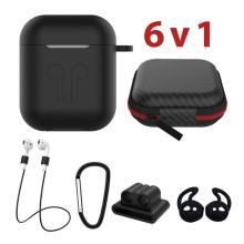 Sada 6v1 pro Apple Airpods - silikonová - černá