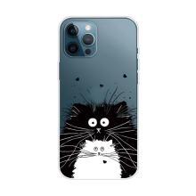 Kryt pro Apple iPhone 13 Pro Max - gumový - černá a bílá kočička