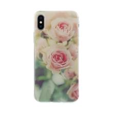Kryt pro Apple iPhone X / Xs - gumový - průhledný - růže