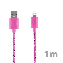 Synchronizační a nabíjecí kabel Lightning pro Apple iPhone / iPad / iPod - tkanička - růžový - 1m