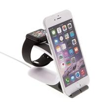 Nabíjecí stojánek Loca Mobius pro Apple Watch 38mm / 42mm a iPhone / iPad - plasto-silikonový černý