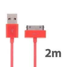 Synchronizační a nabíjecí kabel s 30pin konektorem pro Apple iPhone / iPad / iPod - silný - lososový - 2m