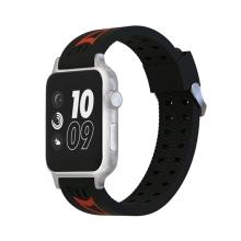 Řemínek pro Apple Watch 44mm Series 4 / 5 / 42mm 1 2 3 - sportovní - silikonový - černý / červený