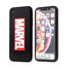 Kryt MARVEL pro Apple iPhone Xr - sklo / guma - černý