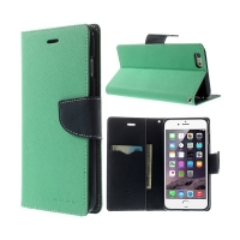 Pouzdro Mercury Goospery pro Apple iPhone 6 Plus / 6S Plus - stojánek a prostor pro platební karty - tyrkysovo-modré