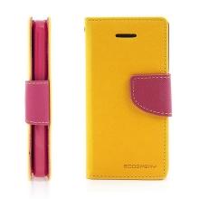 Ochranné pouzdro pro Apple iPhone 5C Mercury Goospery se stojánkem a prostorem pro umístění platebních karet - žluto-růžové