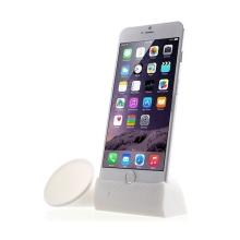 Přenosný silikonový stojánek se zesilovačem zvuku pro Apple iPhone 6 Plus / 6S Plus / 7 Plus - bílý