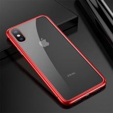 Kryt pro Apple iPhone X - magnetické uchycení - sklo / kov - průhledný / červený
