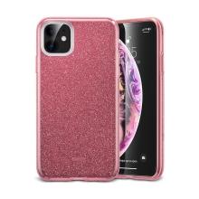 Kryt ESR MakeUP pro Apple iPhone 11 - gumový - se třpytkami - Rose Gold růžový