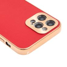 Kryt pro Apple iPhone 12 Pro - kožený + pokovený povrch - červený / měděný