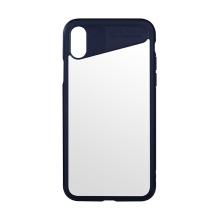 Kryt BENKS pro Apple iPhone X - plastový / gumový - tmavě modrý / průhledný