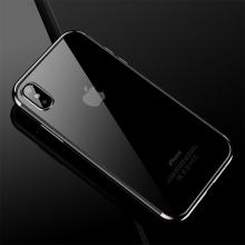 Kryt CAFELE pro Apple iPhone X - gumový / pokovené hrany - průhledný / stříbrný
