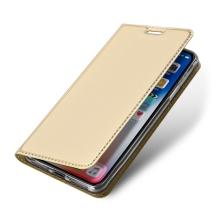 Pouzdro DUX DUCIS pro Apple iPhone Xr - stojánek + prostor pro platební kartu - zlaté