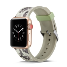 Řemínek pro Apple Watch 44mm Series 4 / 5 / 6 / SE / 42mm 1 / 2 / 3 - silikonový - maskáčový - šedý