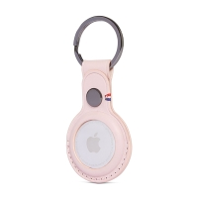 Kryt / obal DECODED pro Apple AirTag - kovový kroužek - kožený - růžový